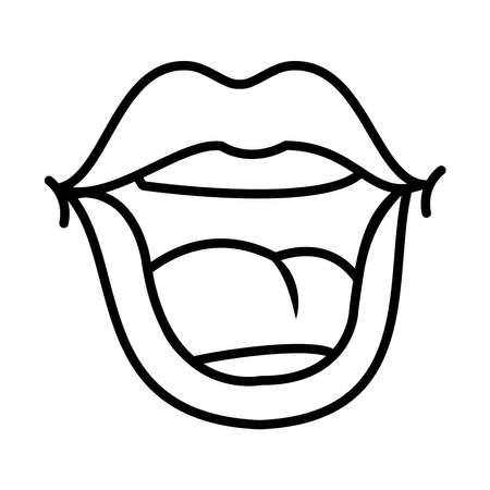 pop art concept, mouth laughing icon over white background, line style, vector illustration