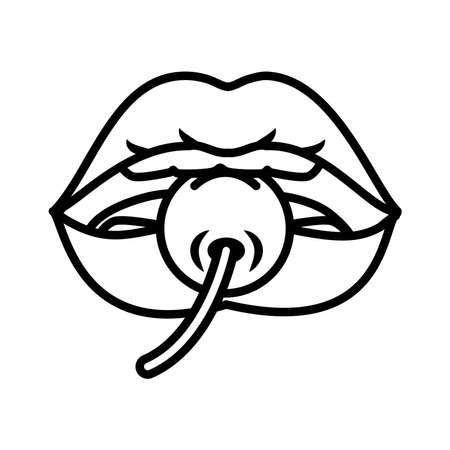 pop art design, female lips biting a cherry over white background, line style, vector illustration