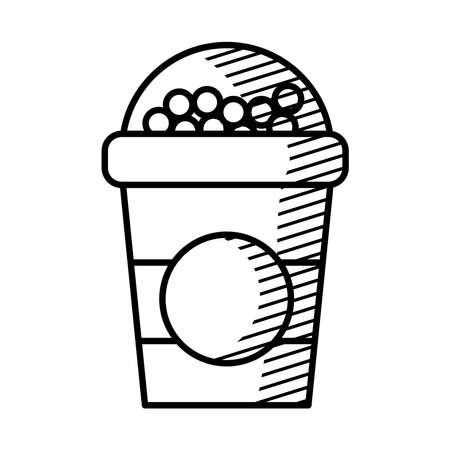 cereal portable cup icon over white background, line style, vector illustration