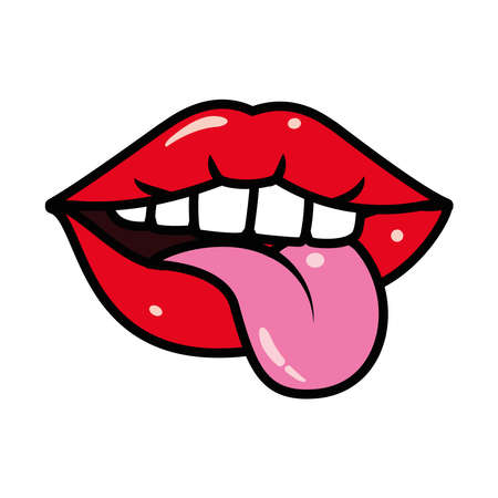 pop art mouth and tongue over white background, line and fill style, vector illustration
