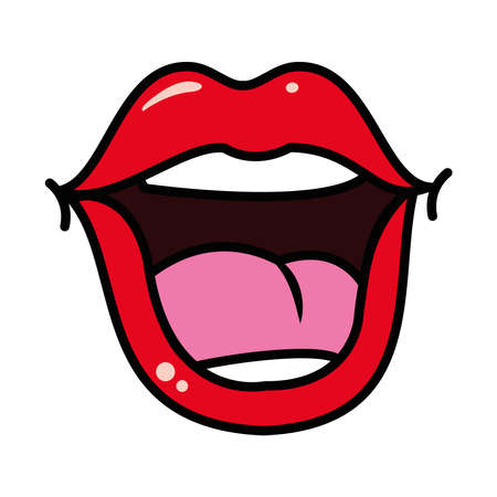 pop art concept, mouth laughing icon over white background, line and fill style, vector illustration