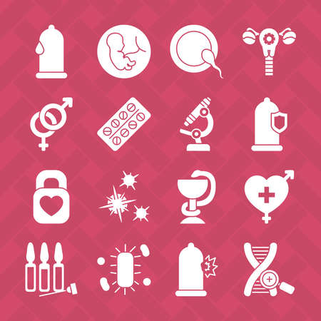 icon set of microscope and health over red background, silhouette style, vector illustration