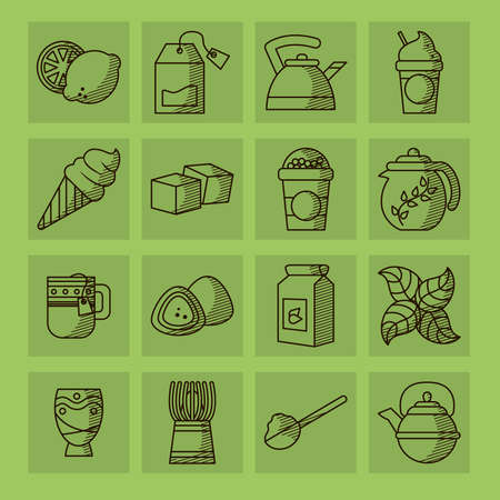 icon set of tea and teapot over green background, line style, vector illustration