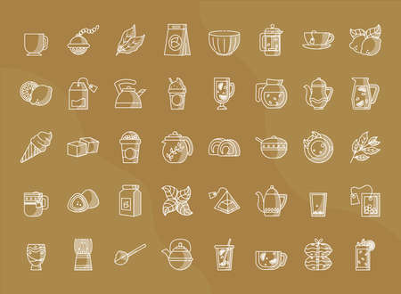 icon set of tea over brown background, line style, vector illustration Çizim