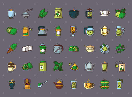 icon set of tea over gray background, hand draw style, vector illustration Çizim