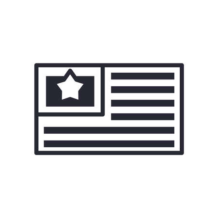 Usa flag line style icon design, United states america independence nation us country and national theme Vector illustration