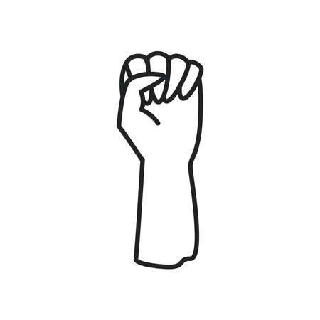 fist hand up line style icon design, law justice legal and human rights theme Vector illustration