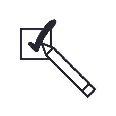 Check mark with pencil line style icon design, Ok tick choice correct approved choose vote positive and web theme Vector illustration