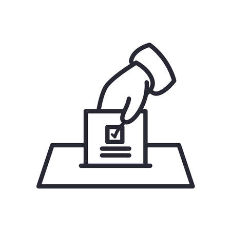 hand holding vote paper line style icon design, President election government and campaign theme Vector illustration