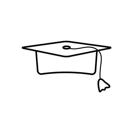 graduation cap icon over white background, line style, vector illustration