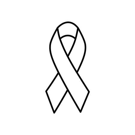 awareness ribbon icon over white background, line style, vector illustration