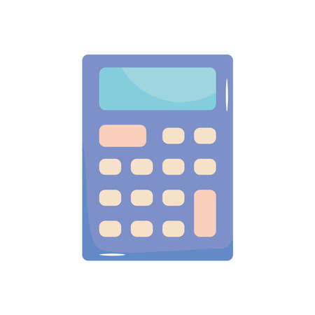calculator device icon over white background, flat style, vector illustration