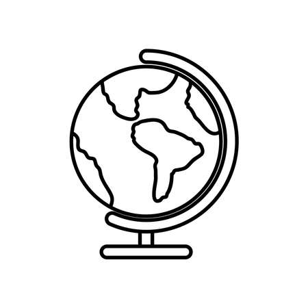 geography tool icon over white background, line style, vector illustration