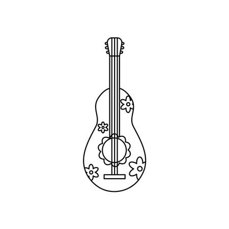 guitar with flowers design over white background, line style, vector illustration