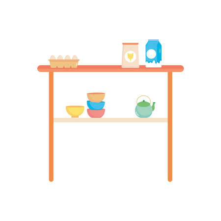 table with bowls, milk and eggs over white background, flat style, vector illustration