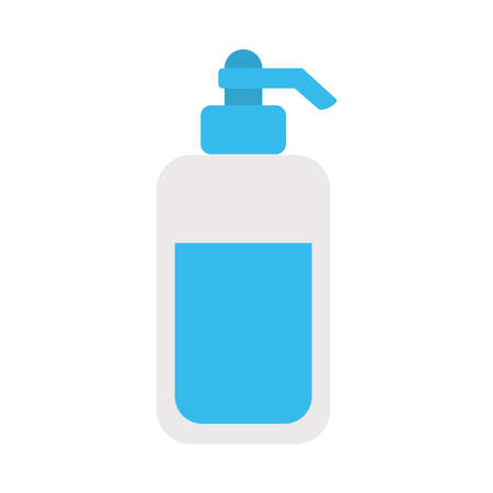antibacterial gel bottle icon over white background, flat style, vector illustration