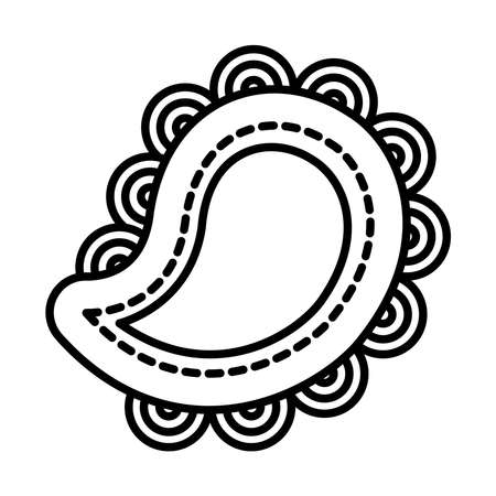 diwali paisley icon over white background, line style, vector illustration