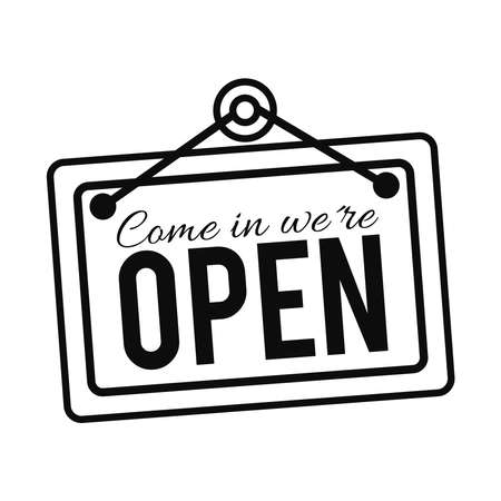 door sign with come in we are open lettering sign over white background, line style, vector illustration