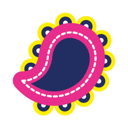 diwali paisley icon over white background, flat style, vector illustration Vettoriali