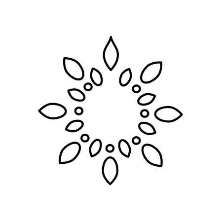 icon of rangoli over white background, line style, vector illustration