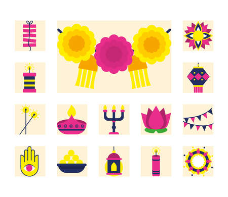 fireworks and diwali festival icon set over white background, flat style, vector illustration