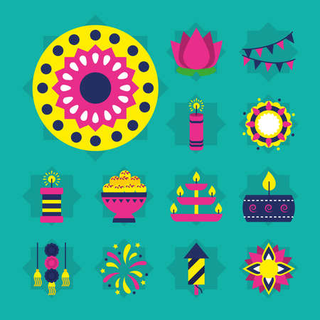 rangoli and diwali festival icon set over turquoise background, flat style, vector illustration Vettoriali