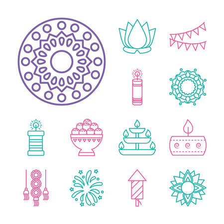 rangoli and diwali festival icon set over white background, line style, vector illustration