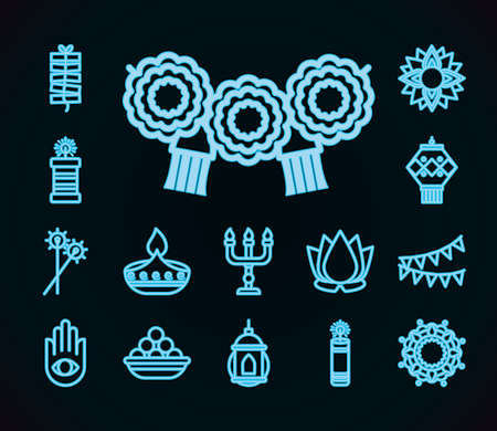 fireworks and diwali festival icon set over black background, line style, vector illustration Vettoriali