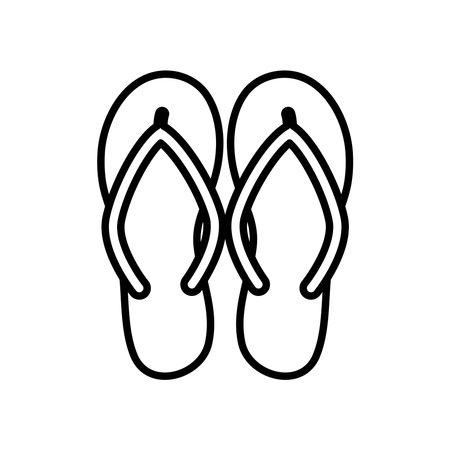 flip flops icon over white background, line style, vector illustration Illustration