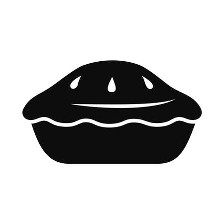 apple pie icon over white background, silhouette style, vector illustration