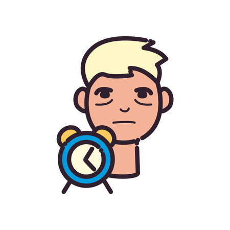 man cartoon with insomnia and clock line and fill style icon design, insomnia sleep and night theme Vector illustration