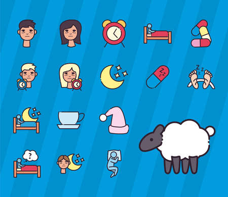 insomnia line and fill style set of icons design, sleep and night theme Vector illustration 矢量图像