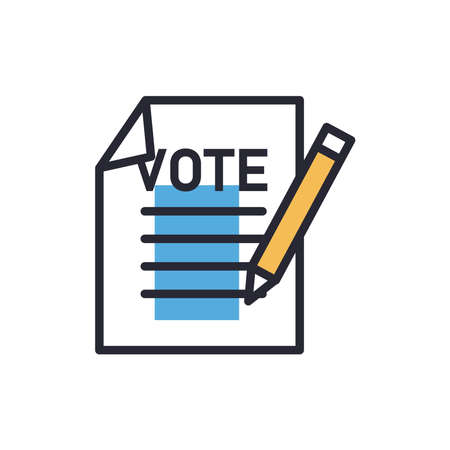 Vote paper with pencil line and fill style icon design, President election government and campaign theme Vector illustration 向量圖像