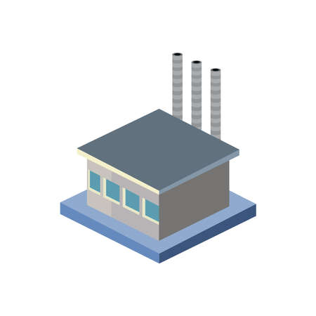factory isometric style icon design, Industry plant building industrial construction job work technology and manufacturing theme Vector illustration
