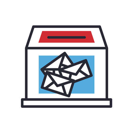 Vote box line and fill style icon design, President election government and campaign theme Vector illustration 向量圖像