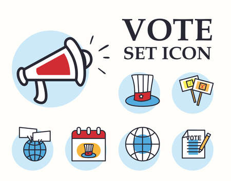 Vote line and fill style set icons design, President election government and campaign theme Vector illustration