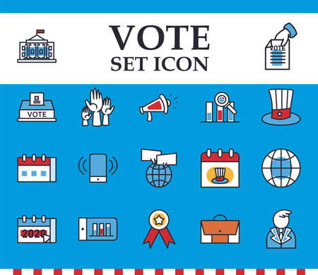 Vote line and fill style icon collection design, President election government and campaign theme Vector illustration