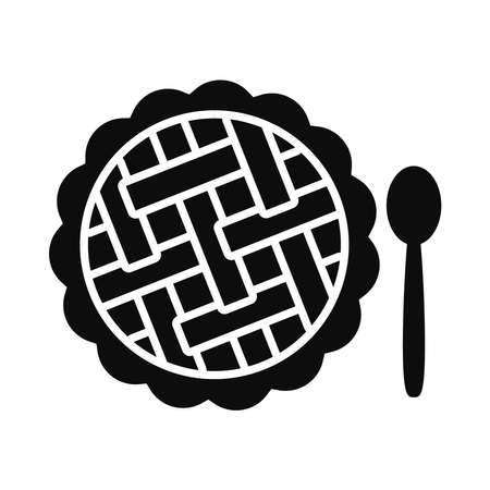 apple pie and spoon icon over white background, silhouette style, vector illustration