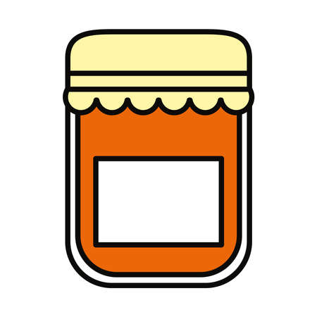 jam bottle icon over white background, line and fill style, vector illustration