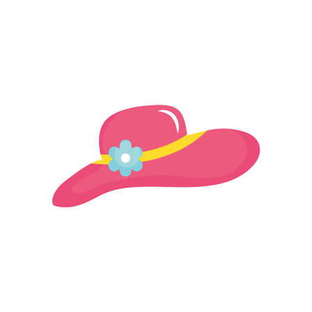 women beach hat icon over white background, flat style, vector illustration
