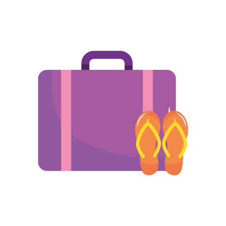 travel suitcase and flip flops icon over white background, flat style, vector illustration