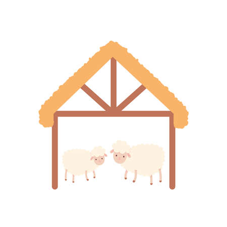 wooden stable with sheeps over white background, flat style, vector illustration