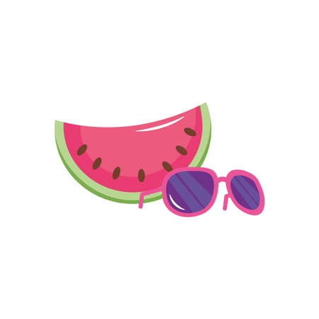 watermelon and sunglasses icon over white background, flat style, vector illustration Çizim