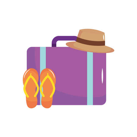 travel suitcase with hat and flip flops over white background, flat style, vector illustration Illustration