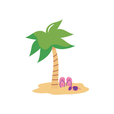 tropical palm, sunglasses and flip flops on the sand over white background, flat style, vector illustration Çizim