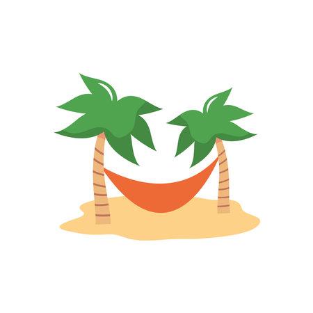 palms with hammock over white background, flat style, vector illustration Çizim