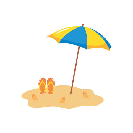 parasol and flip flops on the sand over white background, flat style, vector illustration Çizim