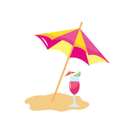 beach parasol and cocktail on the sand over white background, flat style, vector illustration Çizim