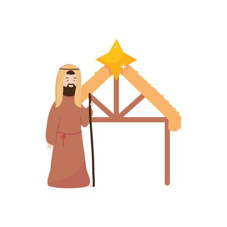 Nativity manger scene with Joseph standing over white background, flat style, vector illustration