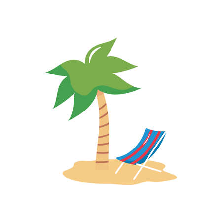 vacations concept, tropical palm and beach chair over white background, flat style, vector illustration Çizim